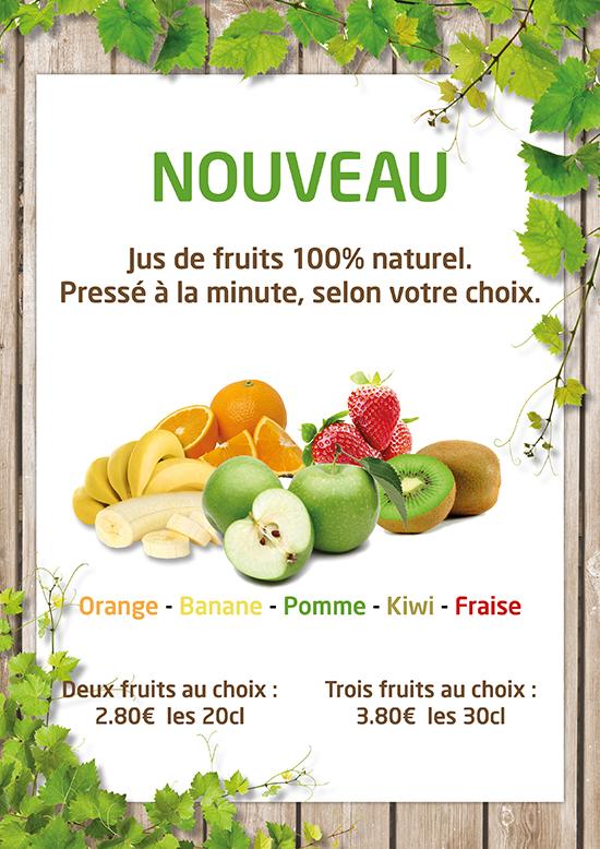 Affiche promotionnelle Jus de fruits
